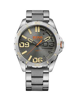 Hugo Boss Hugo Boss Berlin Grey Matte Sunray Dial Knurling Centre Link Bracelet Mens Watch