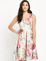 OASIS BIRD AND ROSE PRINT SATIN SKATER