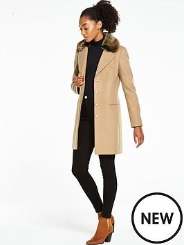 oasis-formal-faux-fur-collar-coat-oatmeal