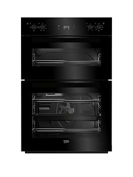 Beko Bdf22300B 60Cm BuiltIn Electric Double Oven With Connection  Black  Oven With Connection