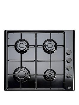 Beko Hizg64120Sb 60Cm BuiltIn Gas Hob With Fsd And Optional Connection  Black  Gas Hob Only