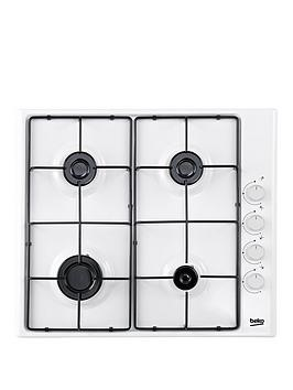 Beko Hizg64120Sw 60Cm BuiltIn Gas Hob With Fsd And Optional Connection  White  Gas Hob Only