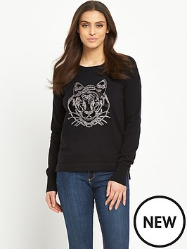 french-connection-animal-knits-tiger-jumper-black