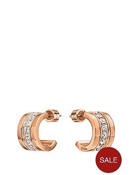 folli-follie-touch-rose-gold-plated-mini-hoop-crystal-set-earrings