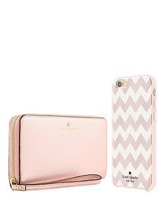 kate-spade-new-york-gift-set-zip-wristlet-rose-gold-amp-chevron-hardshell-case-for-iphone-66s