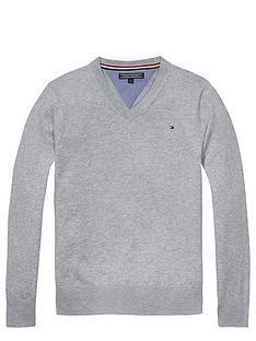 tommy-hilfiger-vee-neck-sweater-grey