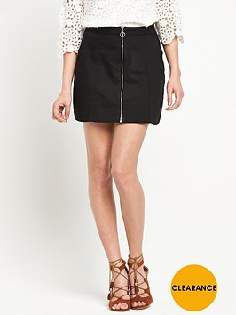 v-by-very-zip-front-denim-a-line-mini-skirt