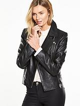 Clean Leather Biker With Chunky Zips