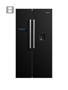 swan-sr70110bnbsp90cm-american-style-double-door-frost-free-fridge-freezer-with-water-dispenser-black-doorstep-delivery-only