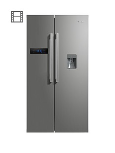swan-sr70110snbsp895cm-american-style-double-door-frost-free-fridge-freezer-with-water-dispenser-silvernbspdoorstep-delivery-only