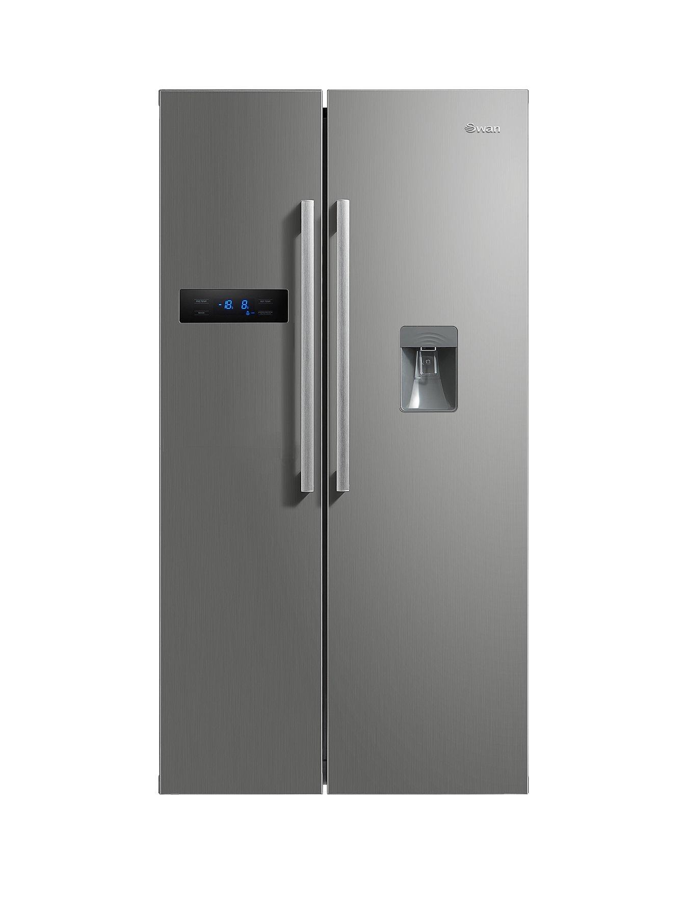 swan sr70110s 90cm double door fridge freezer with water dispenser silver