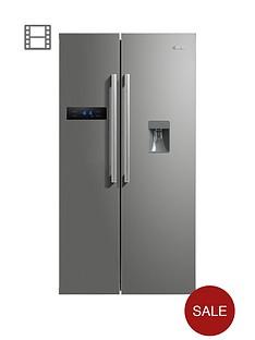 swan-sr70110snbsp90cm-american-style-double-door-frost-free-fridge-freezer-with-water-dispenser-silver
