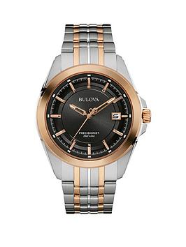 bulova-precisionist-black-dial-two-tone-stainless-steel-bracelet-mens-watch