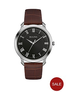 bulova-black-dial-silver-case-dark-tan-leather-strap-mens-watch