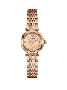 Bulova Rose Dial Stainless Steel Bracelet Ladies Watch