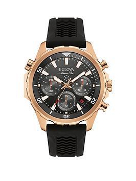 bulova-marine-star-grey-chronograph-rose-gold-case-black-strap-mens-watch