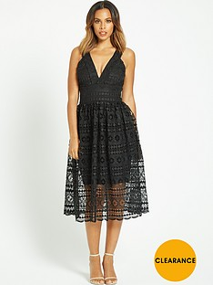 rochelle-humes-deep-v-neck-lace-midi-dress