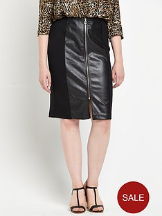 so-fabulous-pu-panel-zip-ponte-jersey-skirt-black