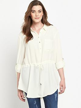 so-fabulous-tab-sleeve-waist-detail-longline-shirt