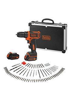 black-decker-bdcdd12bafc-108v-li-ion-drill-driver-with-2-batteries-charger-flight-case-amp-100-accessories