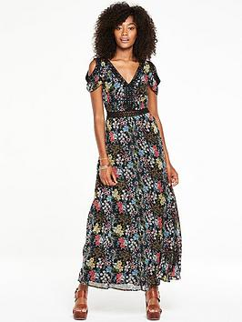 v-by-very-lace-trim-printed-cold-shoulder-maxi-dress