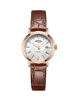 rotary-rotary-windor-white-dial-rose-coloured-case-dark-tan-leather-strap-ladies-watch