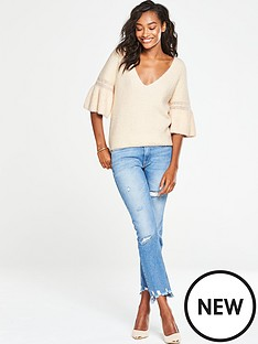v-by-very-fluted-sleeve-jumper