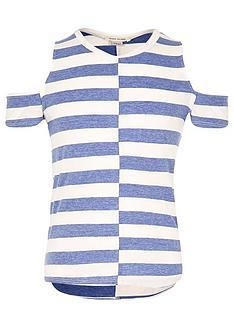 river-island-girls-stripe-cold-shoulder-top