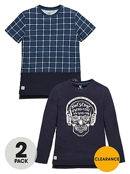v-by-very-boys-skull-and-check-t-shirts-2-pack