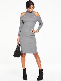v-by-very-cut-out-shoulder-skinny-rib-midi-dress
