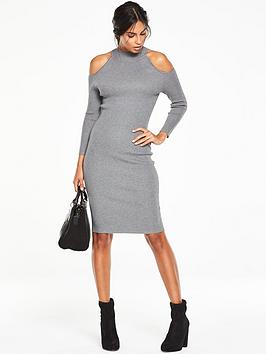 v-by-very-cut-out-shoulder-skinny-rib-midi-dress