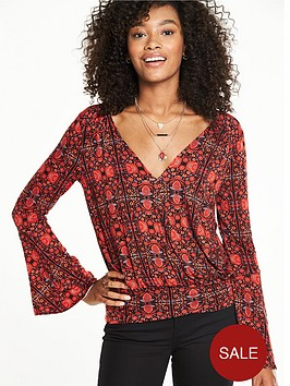 v-by-very-fluted-sleeve-wrap-top