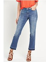 Frayed Hem Cropped Kick Flare Jeans