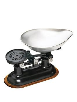 Natural Elements Natural Elements Cast Iron Balance Scales With Black Body And Acacia Wood Stand