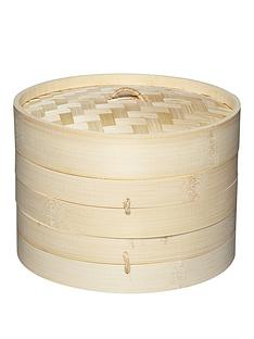 world-of-flavours-world-of-flavours-oriental-two-tier-bamboo-steamer-and-lid-20cm