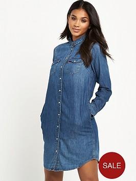 levis-long-sleeve-iconic-western-dress-mid-wash
