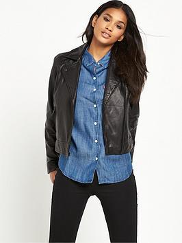 LeviS Leath Moto Leather Jacket  Black