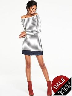 v-by-very-bardot-striped-split-side-tunic-top