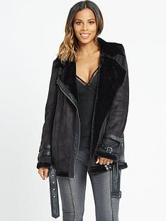 rochelle-humes-cream-fur-faux-shearling-jacket