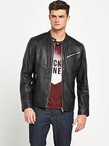 Jack and Jones Premium Onyx Leather Jacket