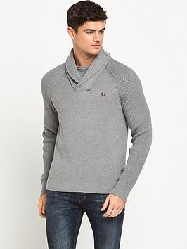 fred-perry-textured-rib-shawl-neck-jumper