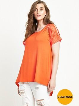 so-fabulous-lace-sleeve-cold-shoulder-t-shirt-orange