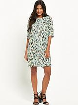 Zig Zag Print Ruffle Dress