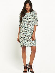 warehouse-zig-zag-print-ruffle-dress
