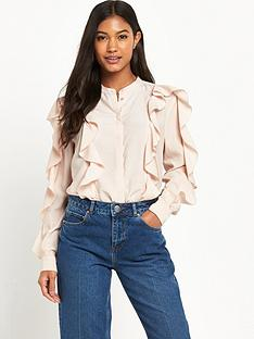 warehouse-ruffle-blouse-pink