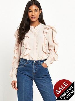 warehouse-ruffle-blouse-pink
