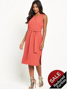 warehouse-sleeveless-belted-dress