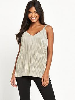 warehouse-twist-plisse-top-gold