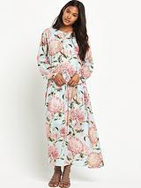 Pom Pom Print Drawstring Dress
