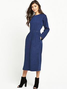 warehouse-denim-midi-dress